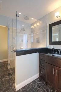 Bathroom with vanity and walkin shower