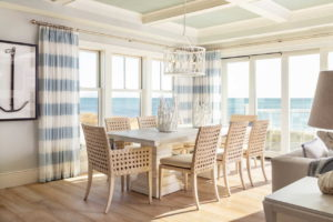 Dining room with large window and view of the ocean