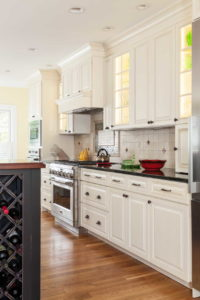 Kitchen cabinets and stove