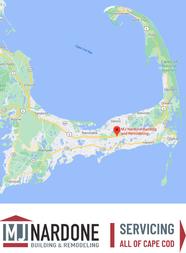 A map of Cape Cod with graphic stating that MJ Nardone Services all of Cape Cod